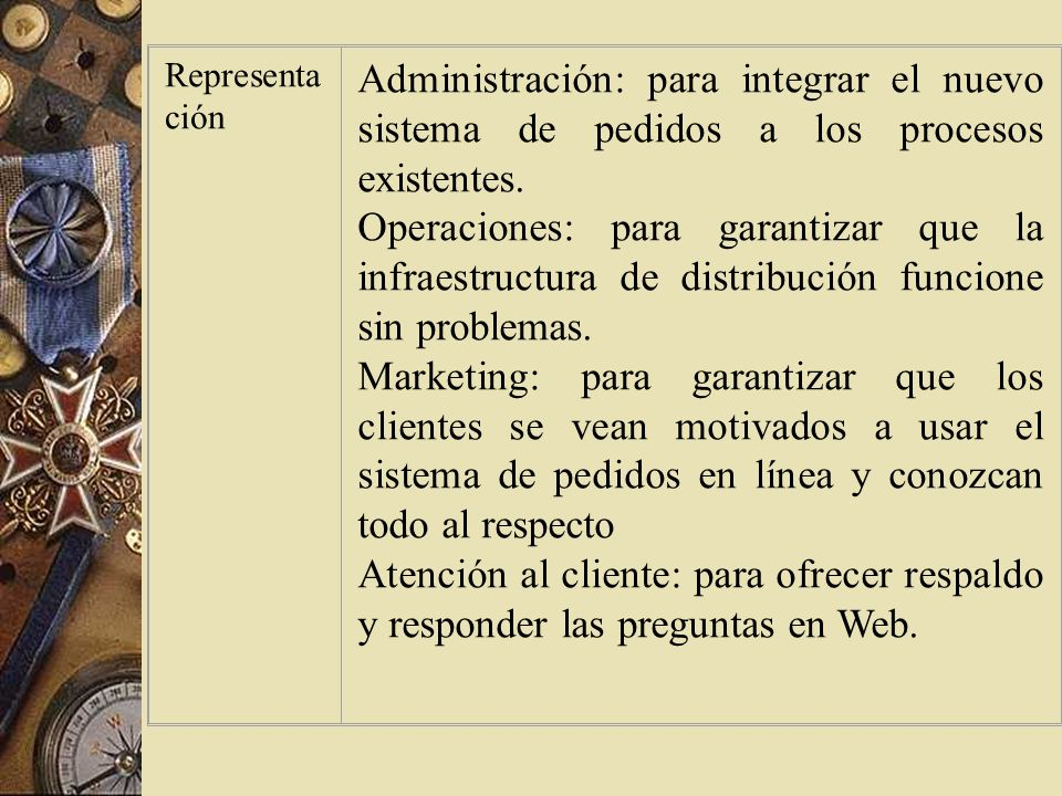 Representación Administración: para integrar el nuevo sistema de pedidos a los procesos existentes.