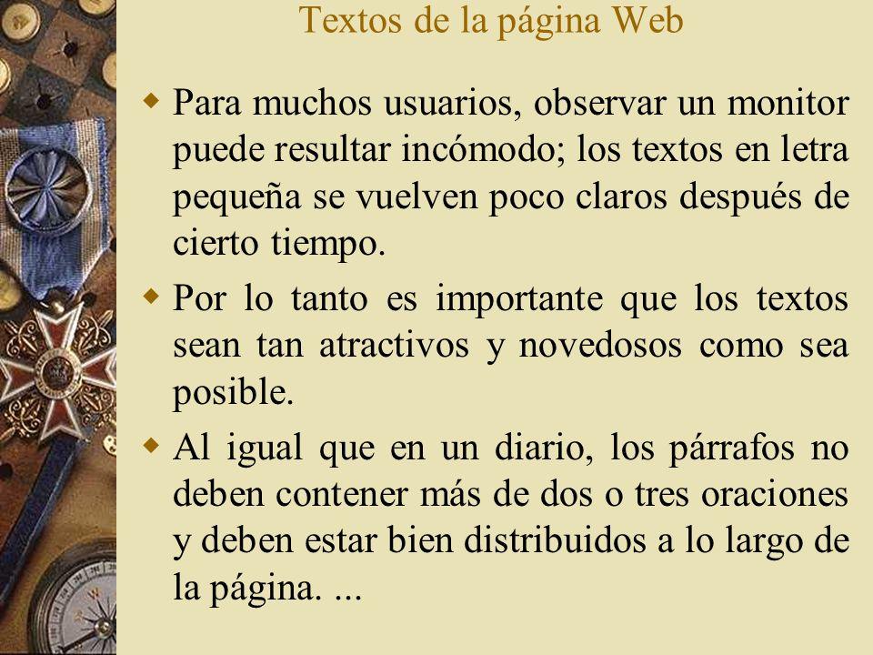 Textos de la página Web