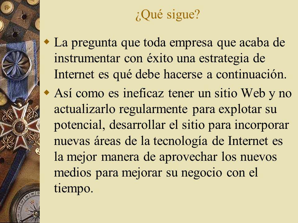 ¿Qué sigue La pregunta que toda empresa que acaba de instrumentar con éxito una estrategia de Internet es qué debe hacerse a continuación.