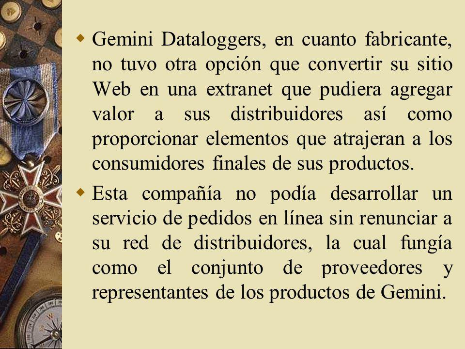 Gemini Dataloggers, en cuanto fabricante, no tuvo otra opción que convertir su sitio Web en una extranet que pudiera agregar valor a sus distribuidores así como proporcionar elementos que atrajeran a los consumidores finales de sus productos.