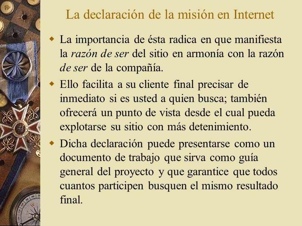 La declaración de la misión en Internet