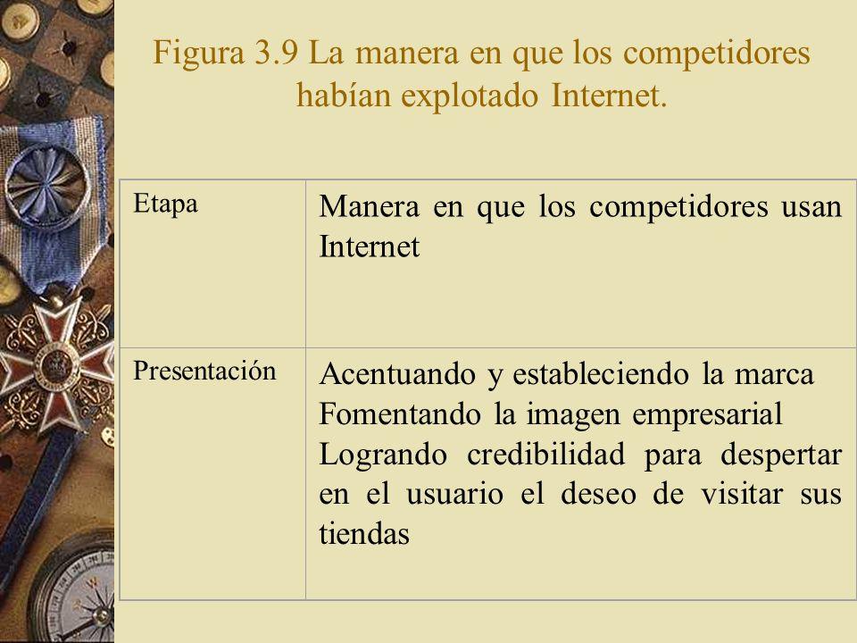 Figura 3.9 La manera en que los competidores habían explotado Internet.
