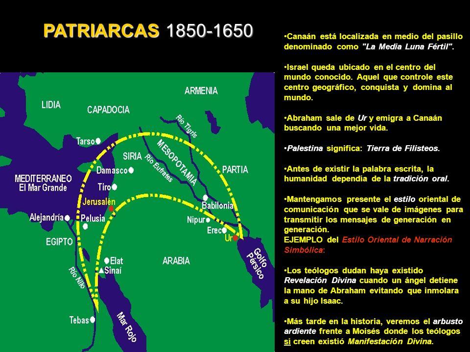 PATRIARCAS 1850-1650 Canaán está localizada en medio del pasillo denominado como La Media Luna Fértil .