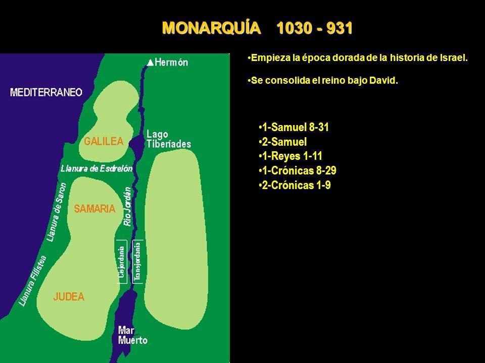 MONARQUÍA 1030 - 931 1-Samuel 8-31 2-Samuel 1-Reyes 1-11