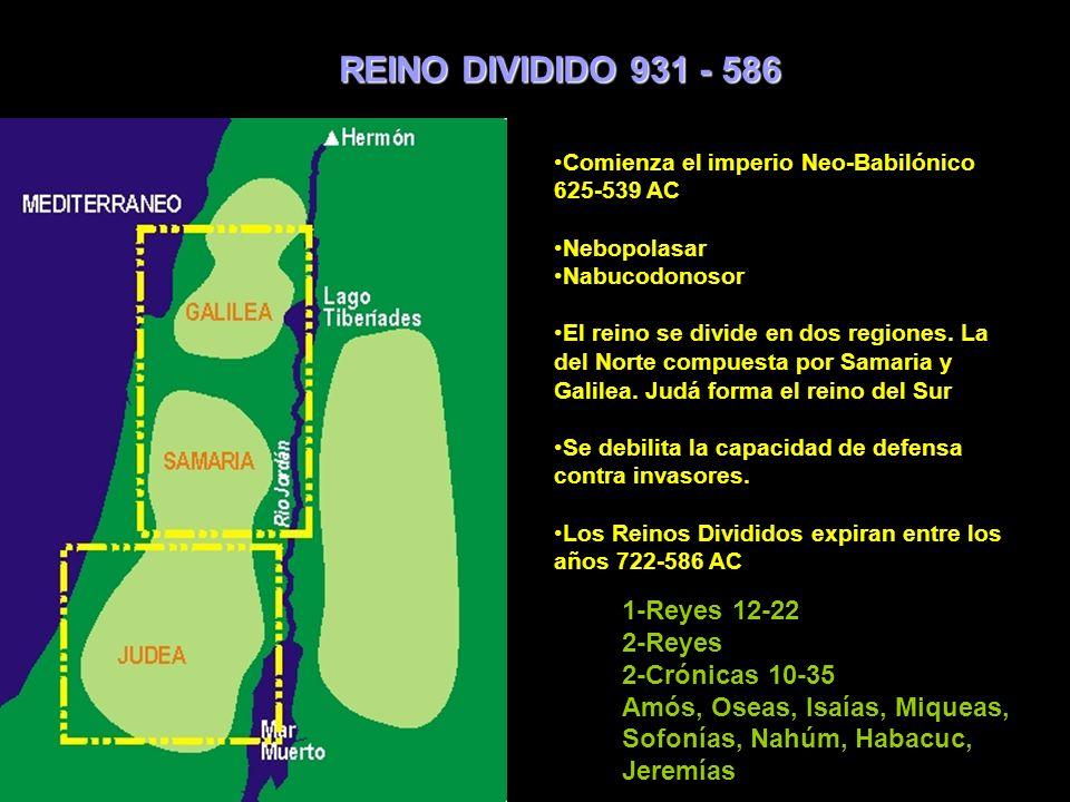 REINO DIVIDIDO 931 - 586 1-Reyes 12-22 2-Reyes 2-Crónicas 10-35