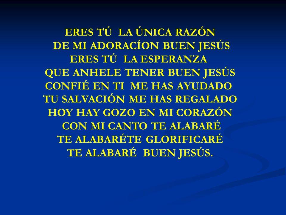 ERES TU LA UNICA RAZON TE ALABARÉ BUEN JESÚS.