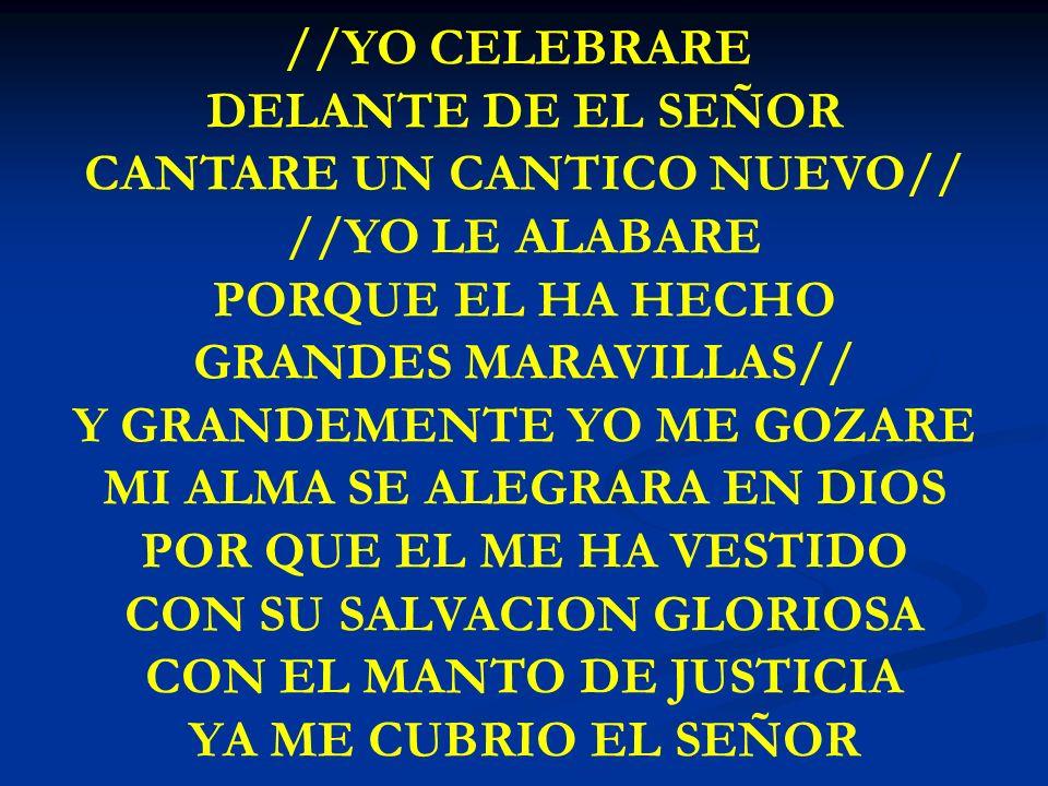 CANTARE UN CANTICO NUEVO// //YO LE ALABARE PORQUE EL HA HECHO