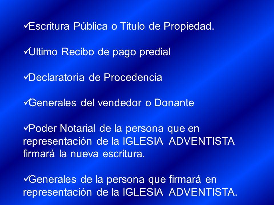 Escritura Pública o Titulo de Propiedad.