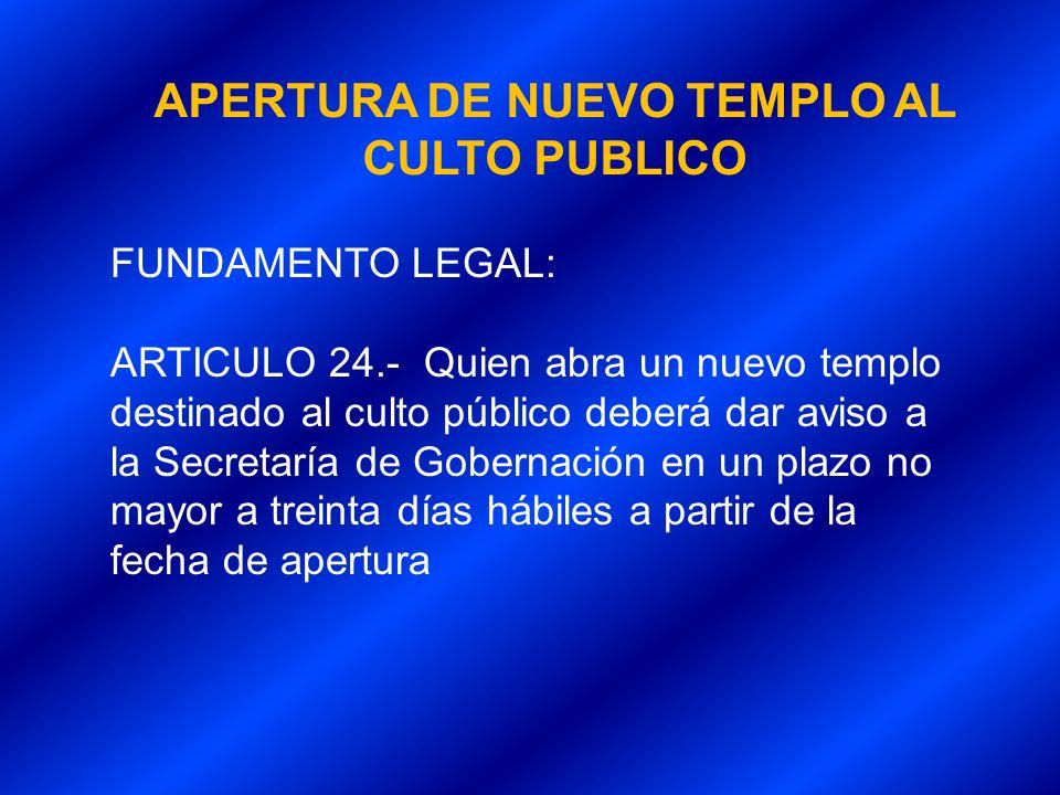 APERTURA DE NUEVO TEMPLO AL CULTO PUBLICO