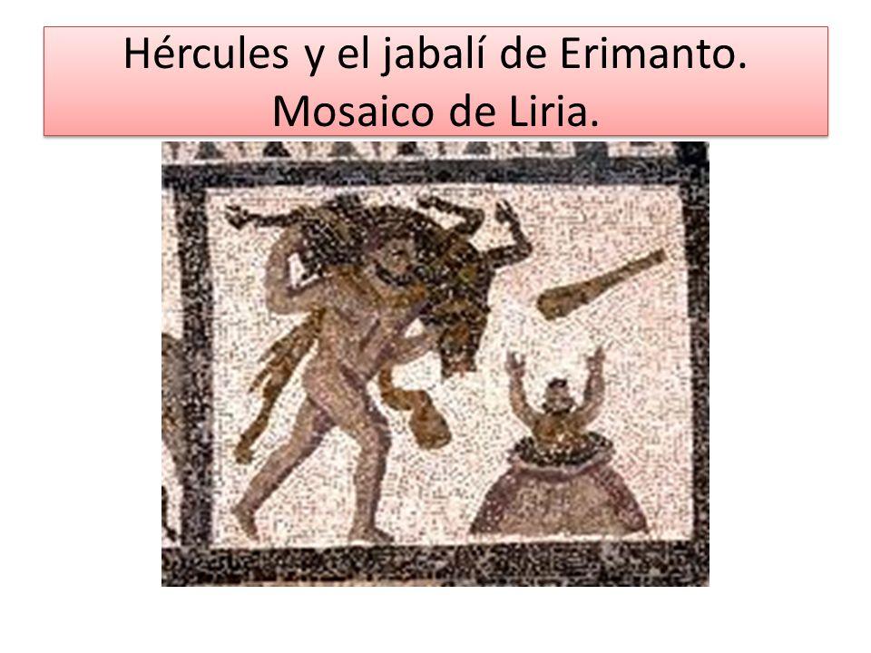 Hércules y el jabalí de Erimanto. Mosaico de Liria.