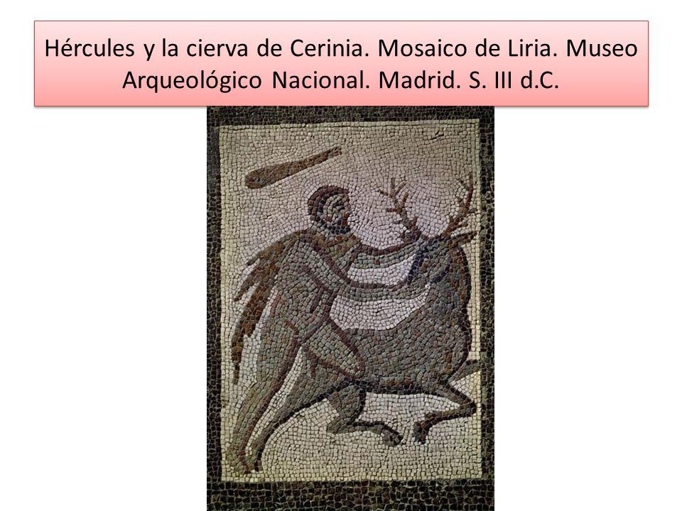 Hércules y la cierva de Cerinia. Mosaico de Liria