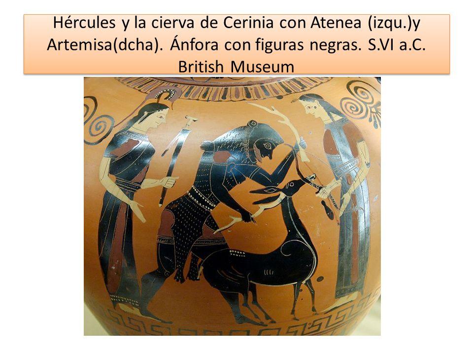 Hércules y la cierva de Cerinia con Atenea (izqu. )y Artemisa(dcha)