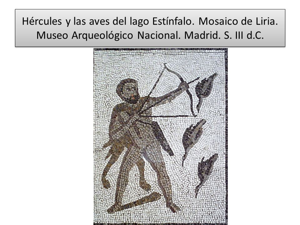 Hércules y las aves del lago Estínfalo. Mosaico de Liria