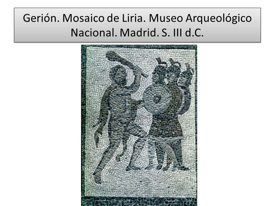 Gerión. Mosaico de Liria. Museo Arqueológico Nacional. Madrid. S. III d.C.