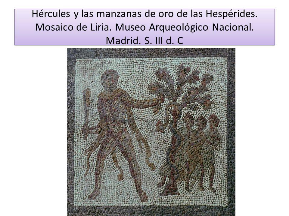 Hércules y las manzanas de oro de las Hespérides. Mosaico de Liria