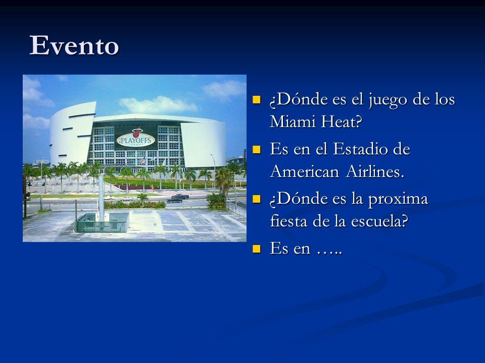 Evento ¿Dónde es el juego de los Miami Heat