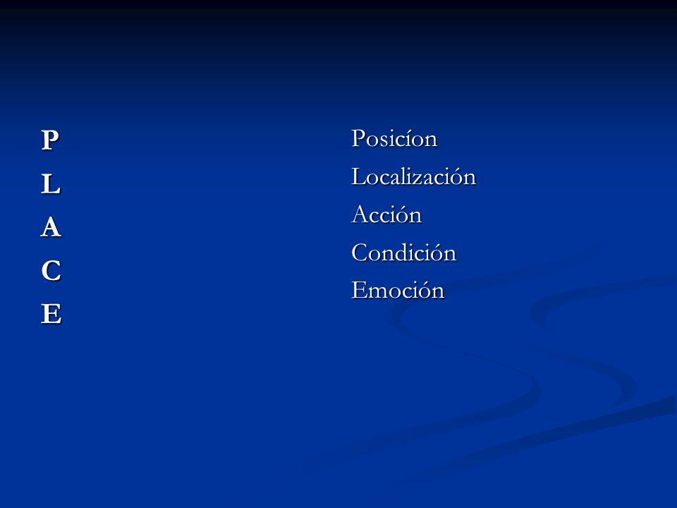 P L A C E Posicíon Localización Acción Condición Emoción