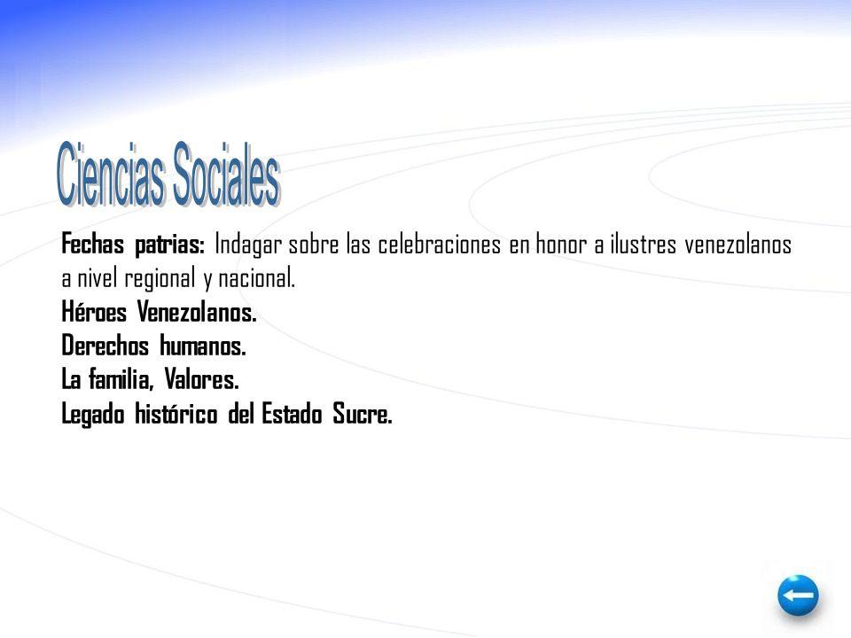 Ciencias Sociales Fechas patrias: Indagar sobre las celebraciones en honor a ilustres venezolanos. a nivel regional y nacional.