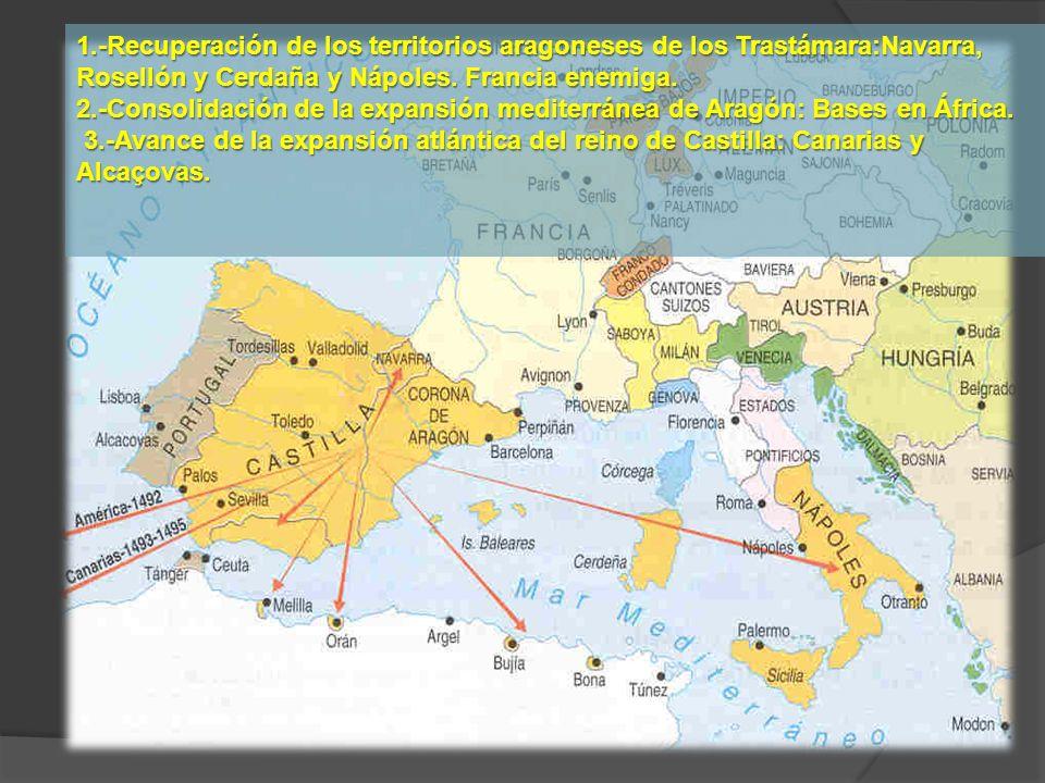 1.-Recuperación de los territorios aragoneses de los Trastámara:Navarra, Rosellón y Cerdaña y Nápoles. Francia enemiga.