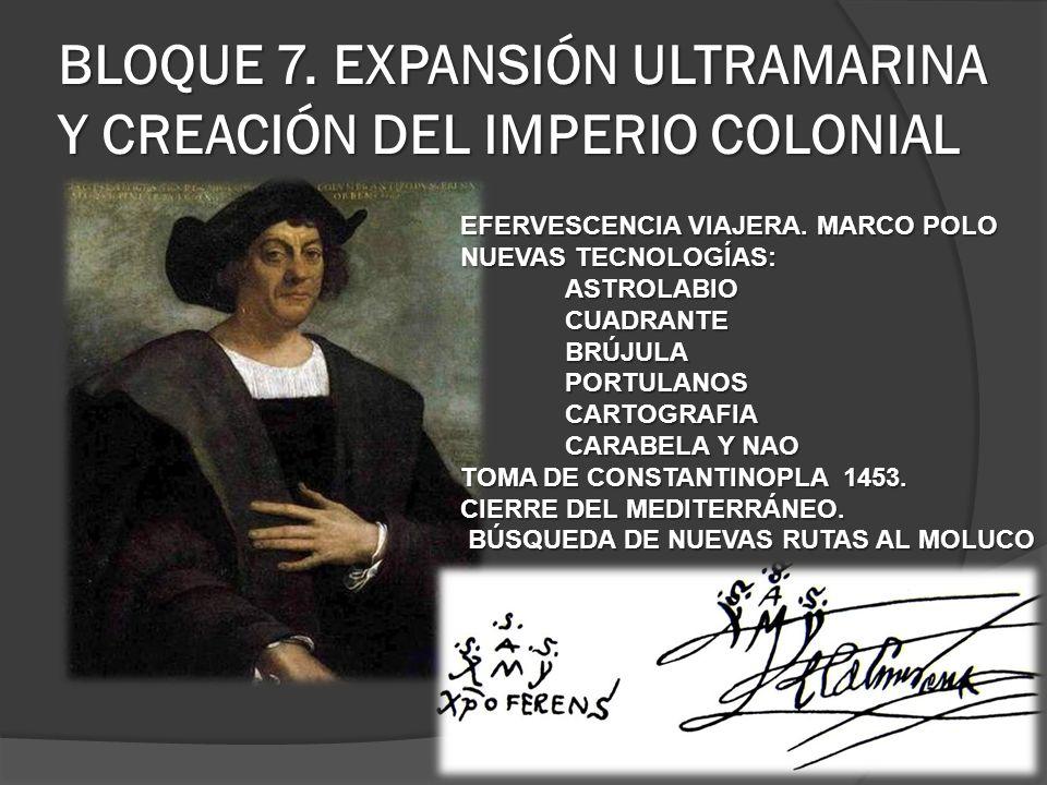 BLOQUE 7. EXPANSIÓN ULTRAMARINA Y CREACIÓN DEL IMPERIO COLONIAL