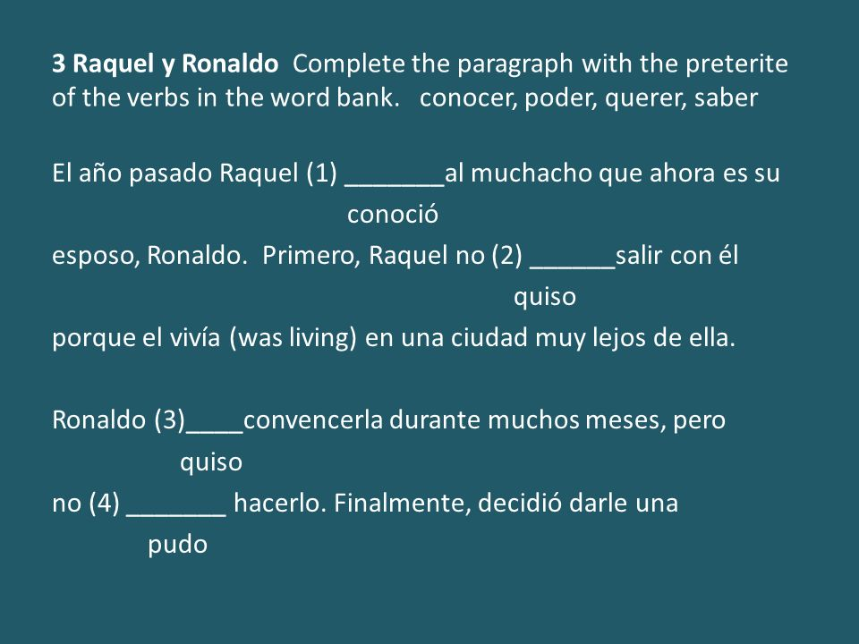 3 Raquel y Ronaldo Complete the paragraph with the preterite of the verbs in the word bank. conocer, poder, querer, saber