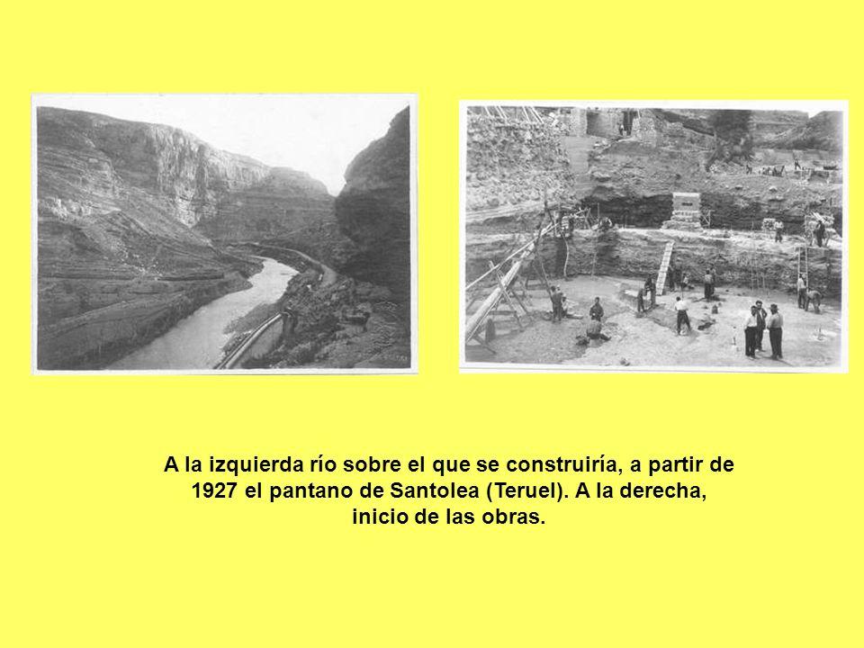 A la izquierda río sobre el que se construiría, a partir de 1927 el pantano de Santolea (Teruel).