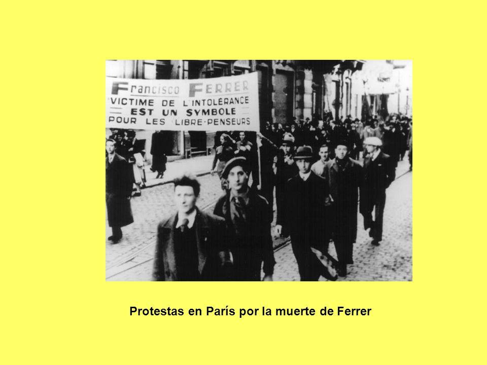 Protestas en París por la muerte de Ferrer