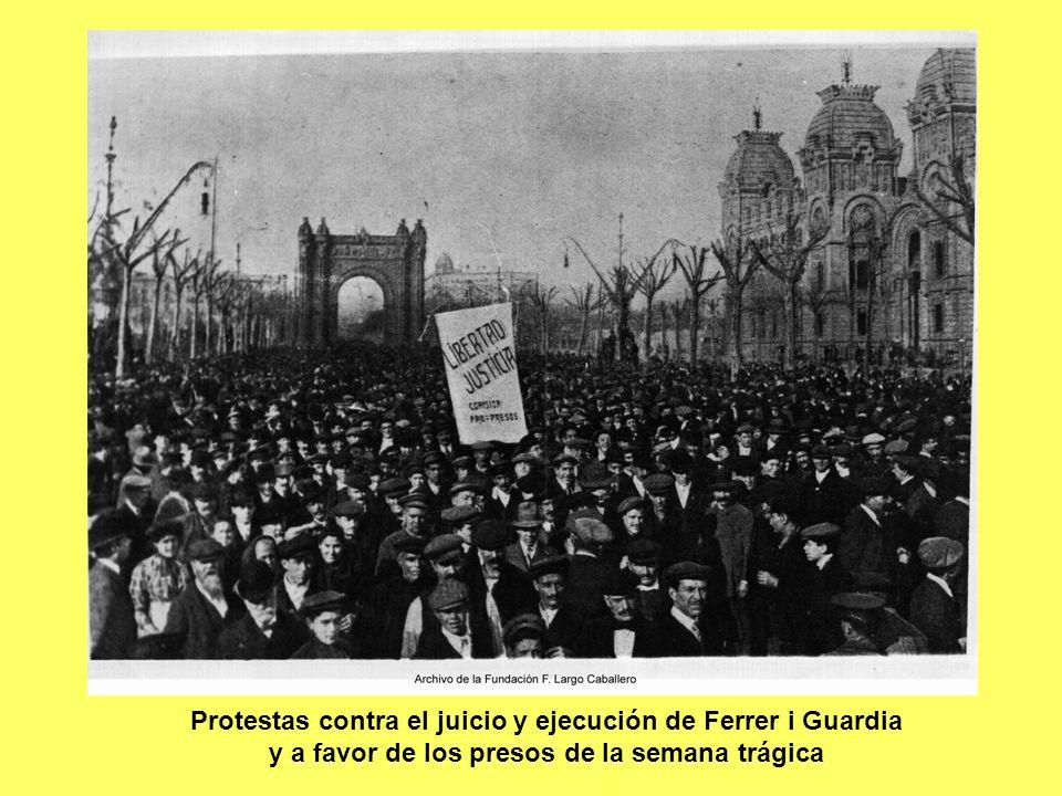 Protestas contra el juicio y ejecución de Ferrer i Guardia