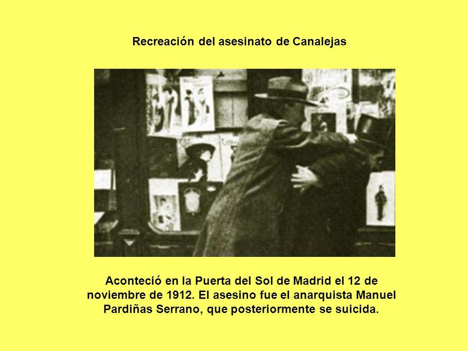 Recreación del asesinato de Canalejas