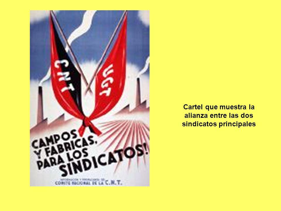 Cartel que muestra la alianza entre las dos sindicatos principales