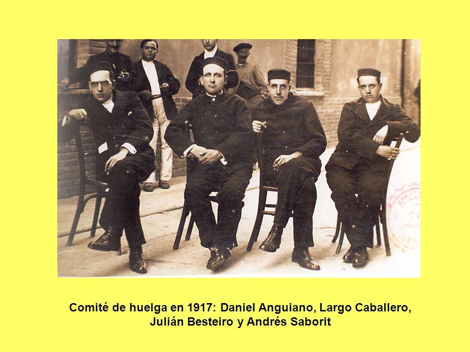 Comité de huelga en 1917: Daniel Anguiano, Largo Caballero, Julián Besteiro y Andrés Saborit
