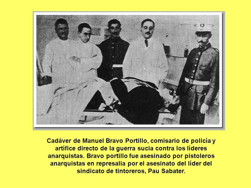 Cadáver de Manuel Bravo Portillo, comisario de policía y artífice directo de la guerra sucia contra los líderes anarquistas.