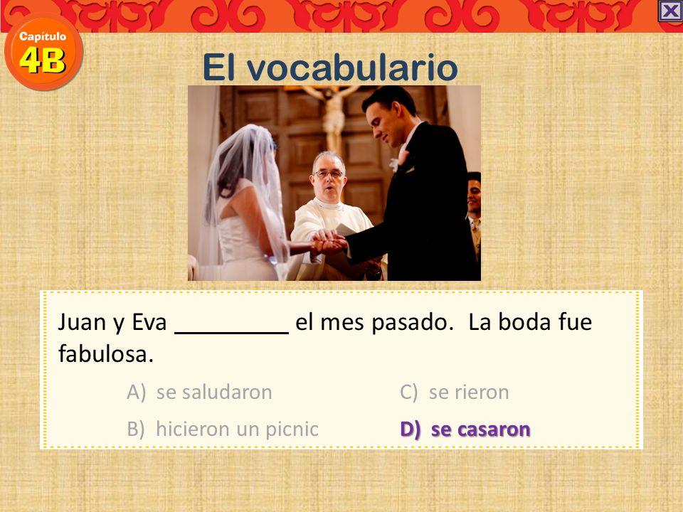 El vocabulario Juan y Eva el mes pasado. La boda fue fabulosa.