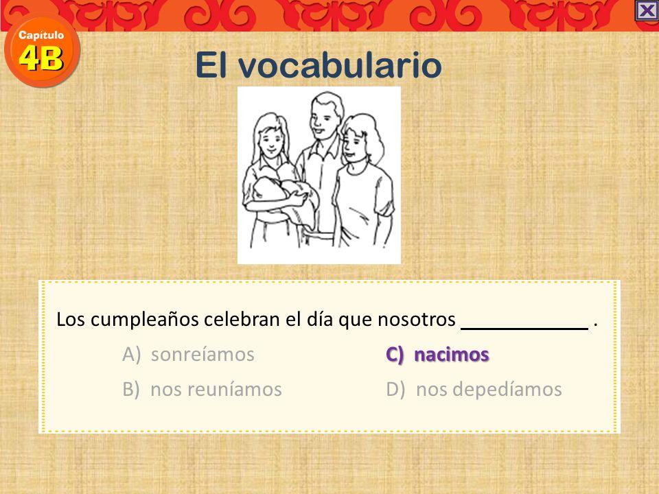 El vocabulario Los cumpleaños celebran el día que nosotros .