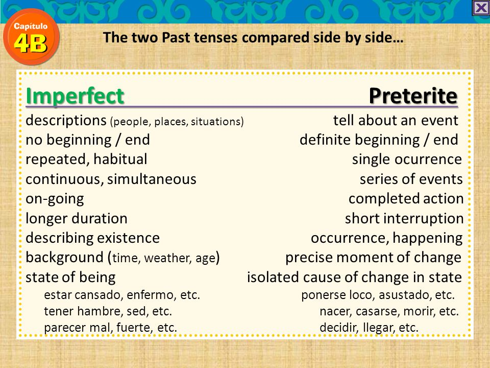 Imperfect Preterite The two Past tenses compared side by side…
