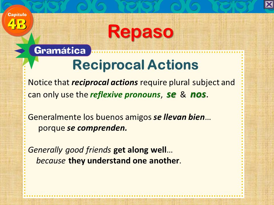 Repaso Reciprocal Actions