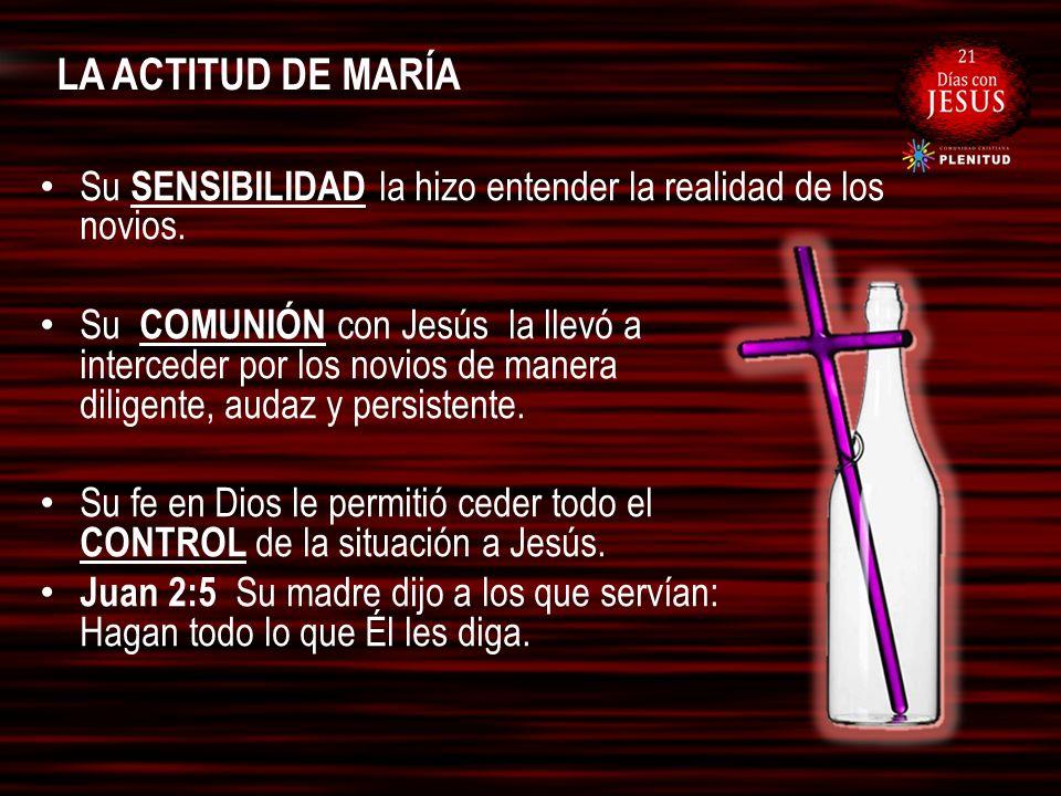 LA ACTITUD DE MARÍA Su SENSIBILIDAD la hizo entender la realidad de los novios.