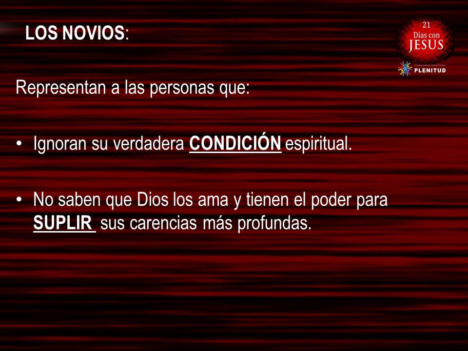 LOS NOVIOS: Representan a las personas que: Ignoran su verdadera CONDICIÓN espiritual.