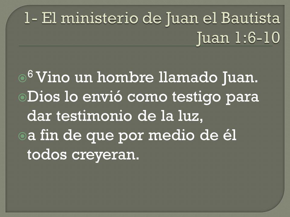 1- El ministerio de Juan el Bautista Juan 1:6-10