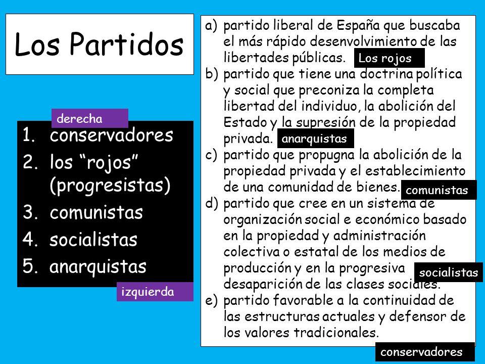 Los Partidos conservadores los rojos (progresistas) comunistas