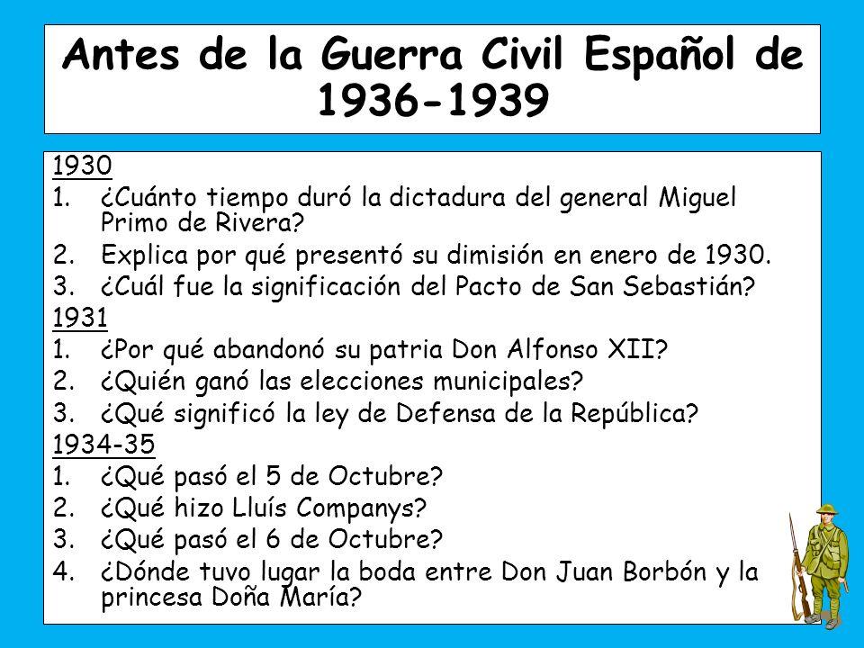 Antes de la Guerra Civil Español de 1936-1939
