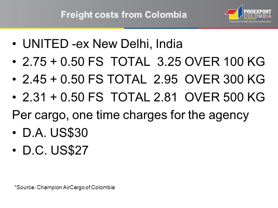 Freight costs from Colombia