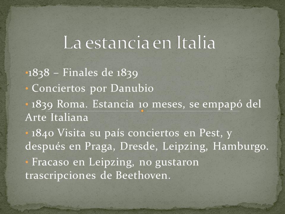 La estancia en Italia 1838 – Finales de 1839 Conciertos por Danubio
