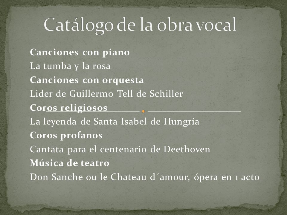 Catálogo de la obra vocal