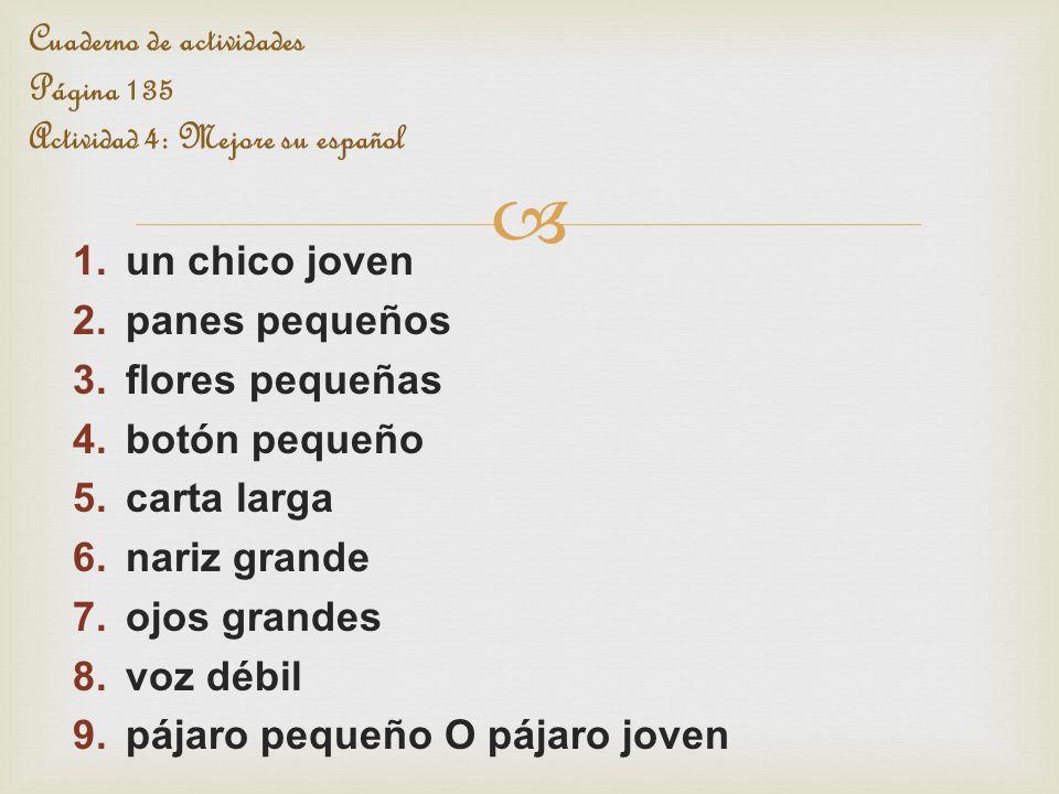Cuaderno de actividades Página 135 Actividad 4: Mejore su español
