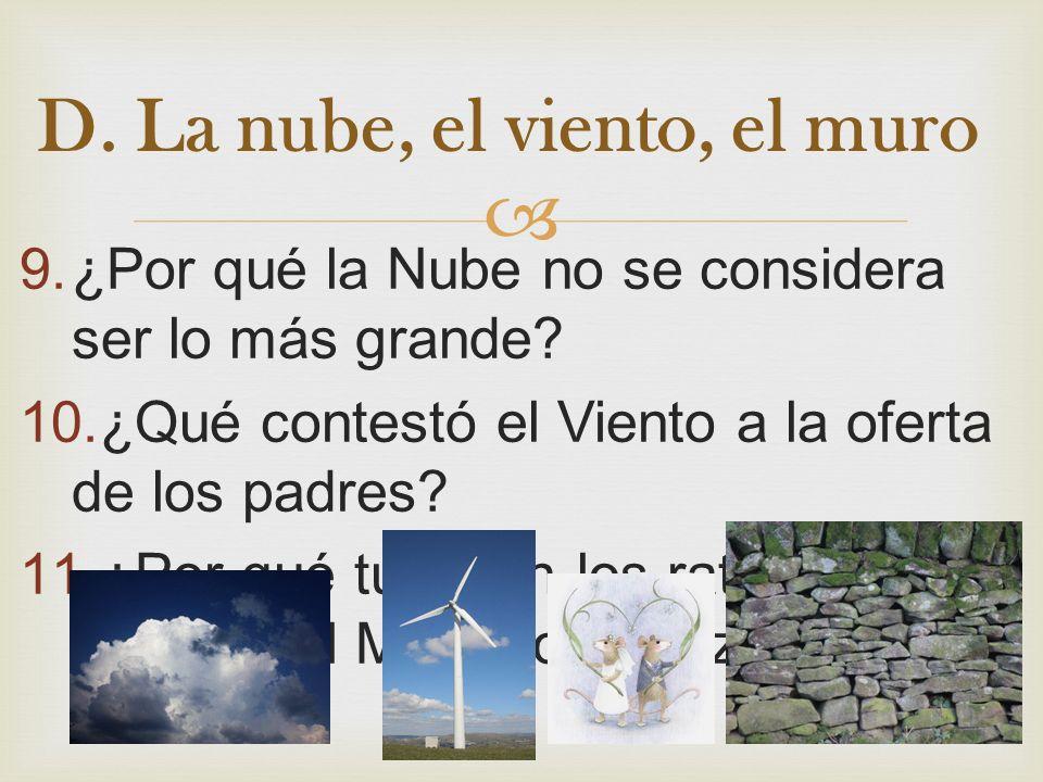 D. La nube, el viento, el muro