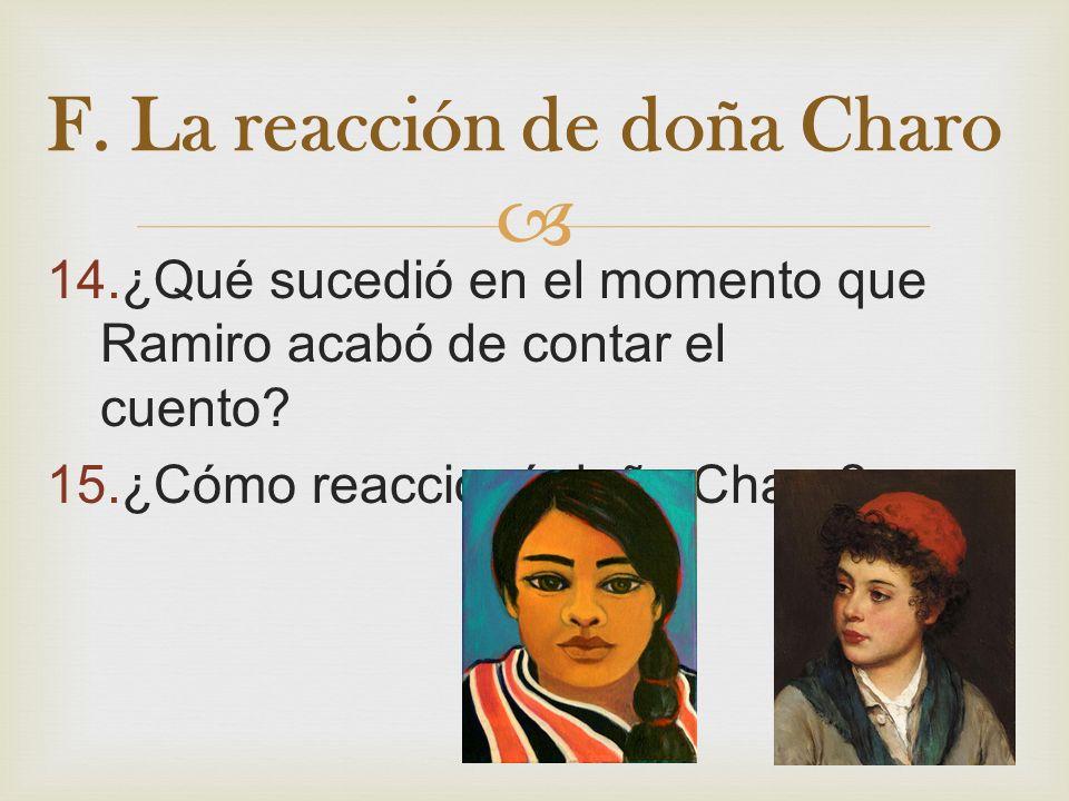 F. La reacción de doña Charo