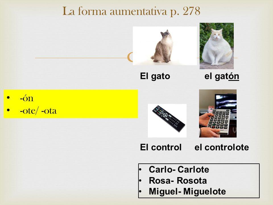 La forma aumentativa p. 278 -ón -ote/ -ota El gato el gatón