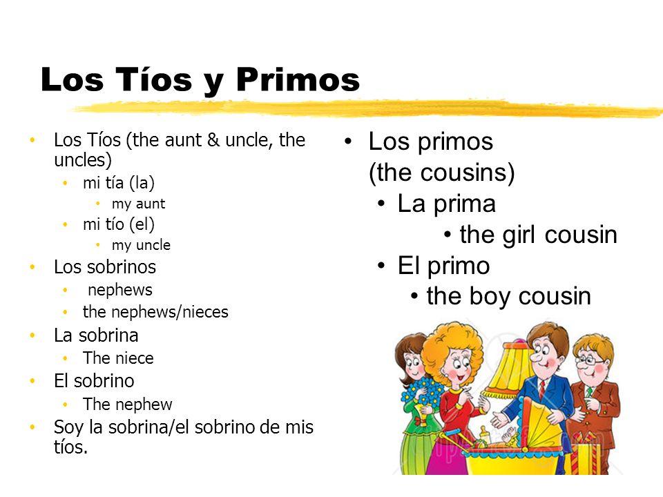 Los Tíos y Primos Los primos (the cousins) La prima the girl cousin