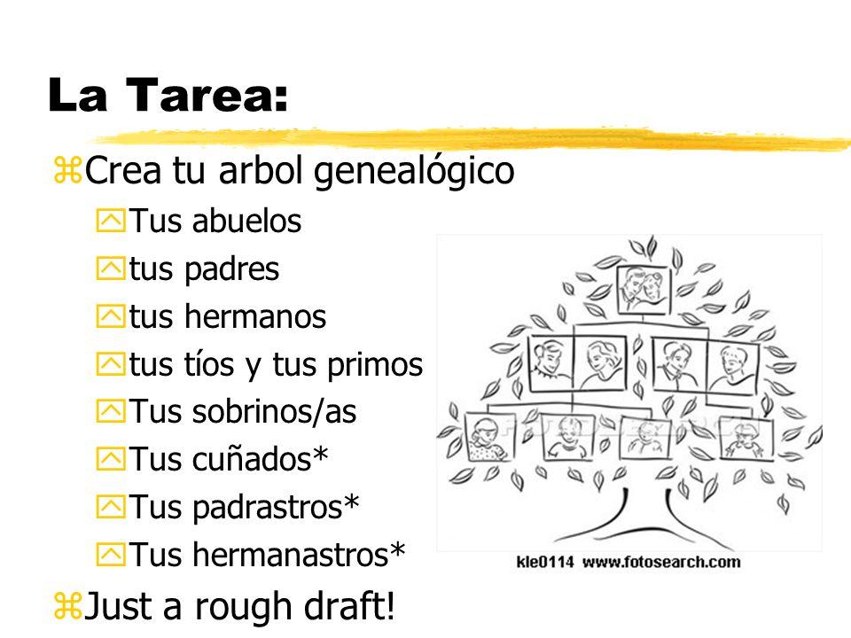 La Tarea: Crea tu arbol genealógico Just a rough draft! Tus abuelos